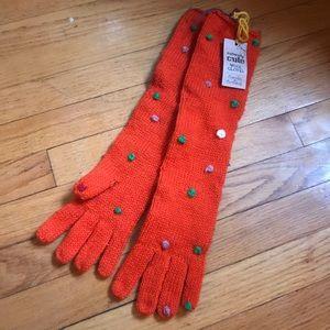 Accessories - Super Cute NWT Orange Knit Polka Dot Long Gloves!